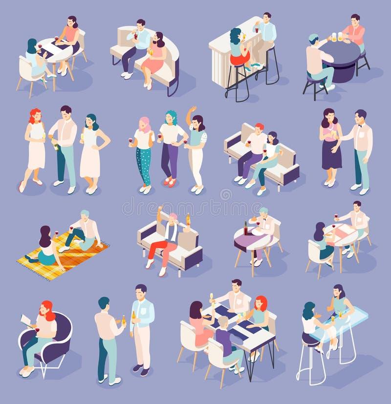Drinking People Isometric Icons Set vector illustration