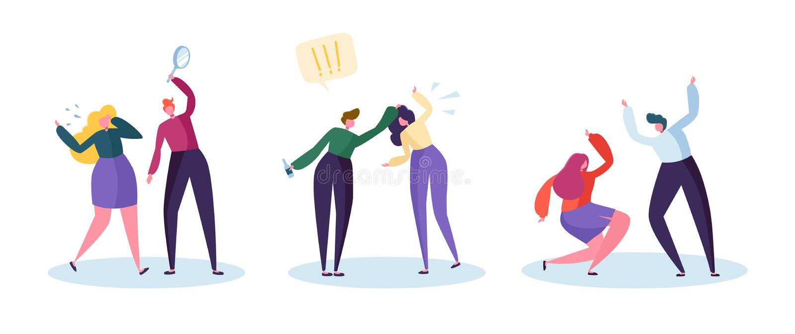 Drinking Problem and Domestic Violence Concept. Abusive Angry Husband Character Punching Hitting Frightened Wife. Global Social. Relationship Issue. Flat royalty free illustration
