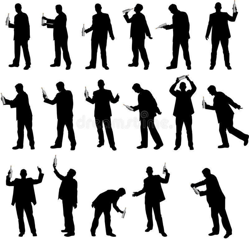 Free Drinking Silhouettes Royalty Free Stock Images - 9663319