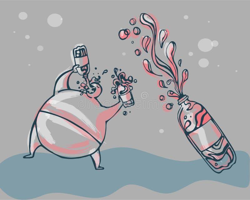 Drinking soda royalty free illustration