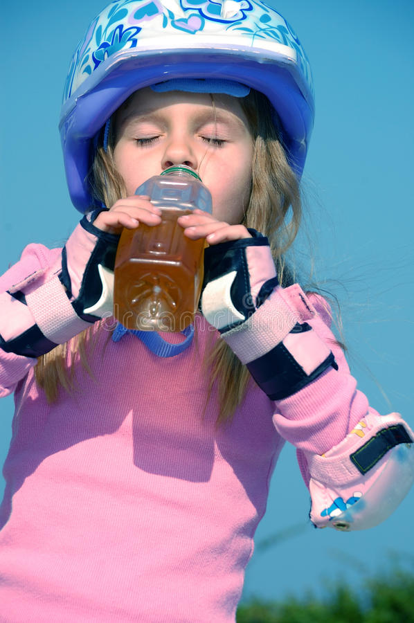 Drinking sporty child stock images