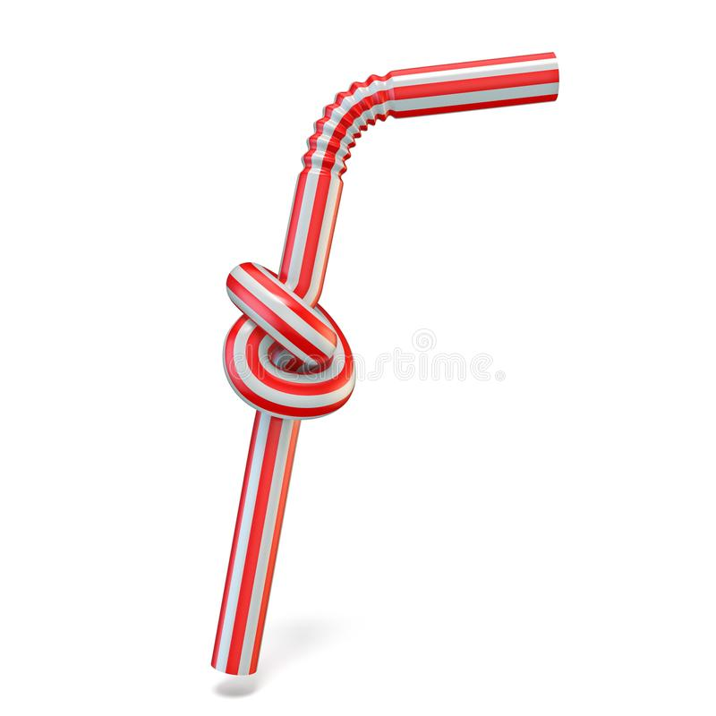 Drinking straw knot 3D. Render illustration isolated on white background vector illustration