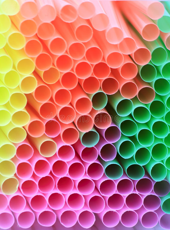 Drinking straws. Abstract multi coloured drinking straws stock image