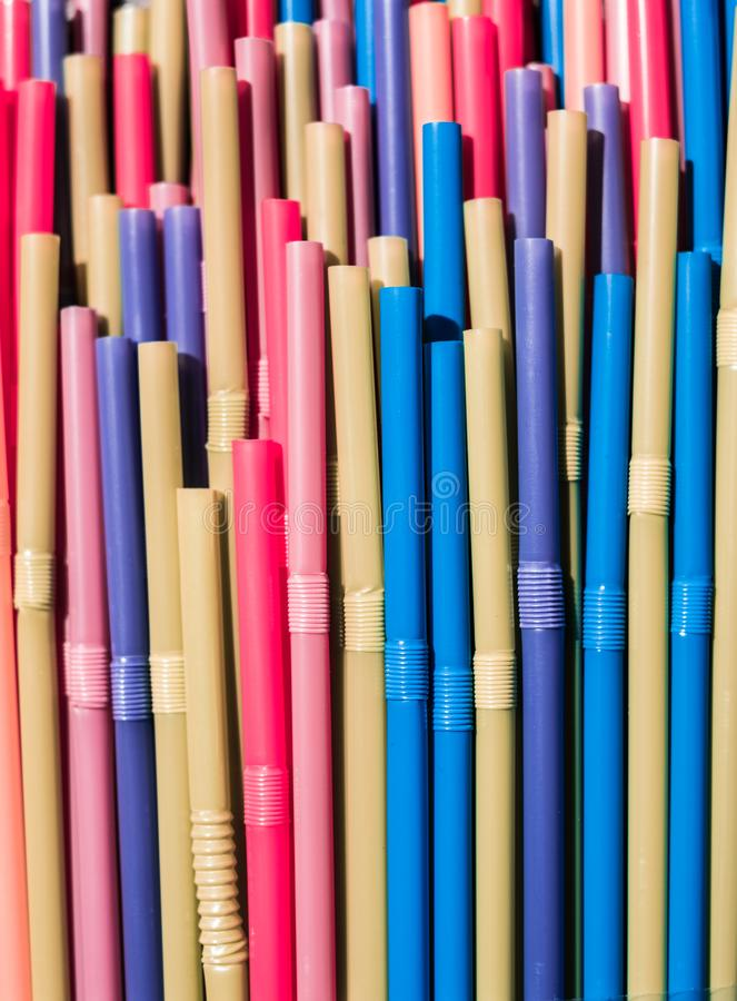 Drinking straws closeup, colorful plastic straw macro royalty free stock photography