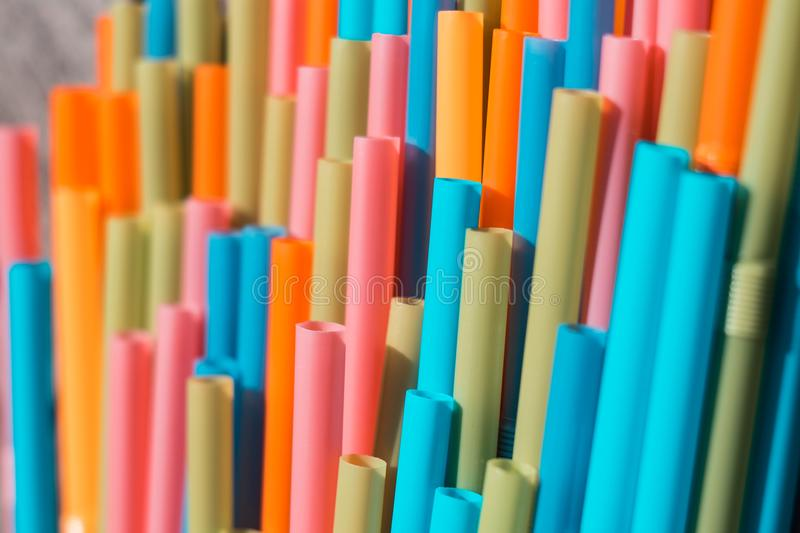 Drinking straws closeup, colorful plastic straw macro stock photos