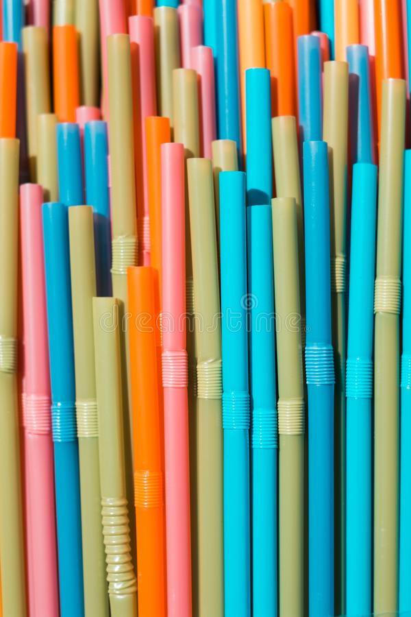 Drinking straws closeup, colorful plastic straw macro royalty free stock images