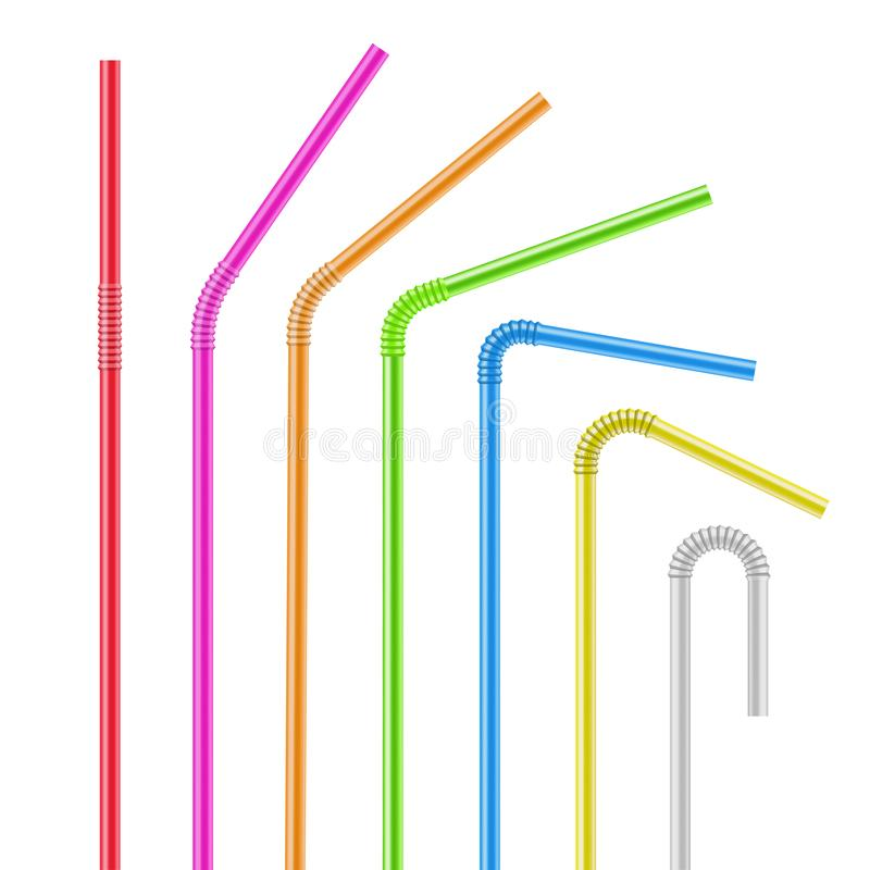 Drinking straws set, drink and cocktail refreshment royalty free illustration