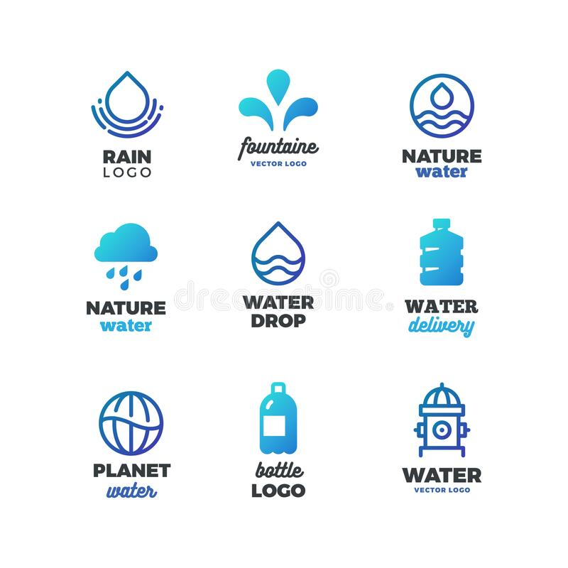 Drinking Symbols And Water Vector Logos Eco Ocean Emblems Stock