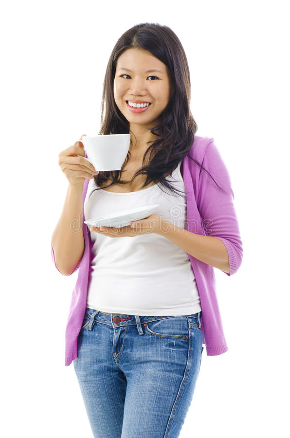 Download Drinking tea or coffee stock photo. Image of female, addiction - 26266728