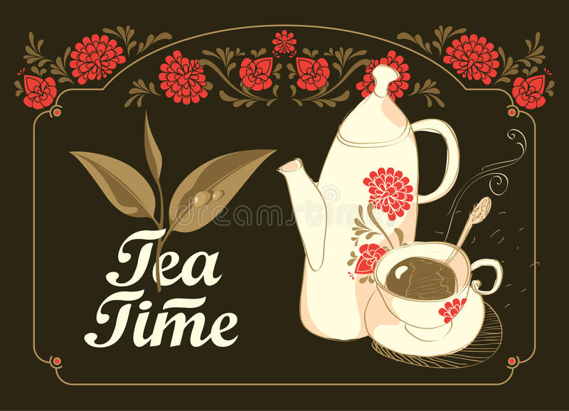 Drinking tea time stock illustration