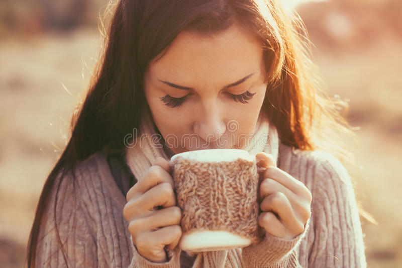 Drinking tea royalty free stock photos