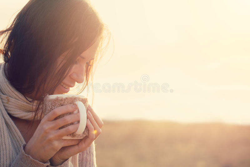 Download Drinking tea stock image. Image of enjoying, girl, happy - 46041437