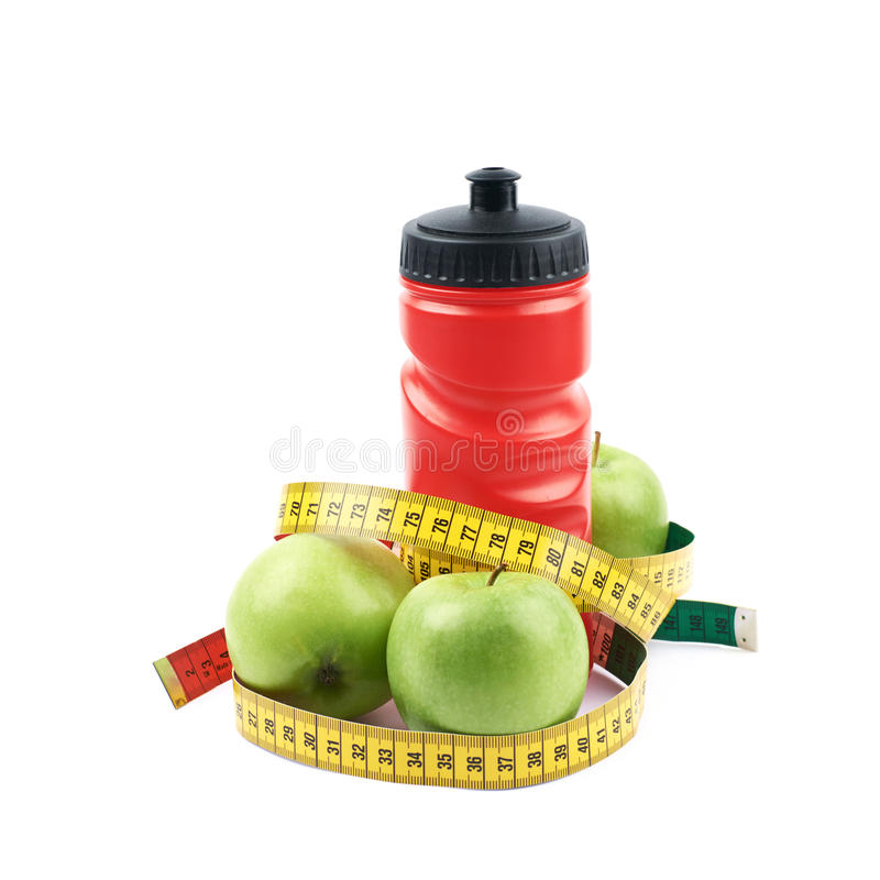 Weight Scale Fresh Apples Isolated Over White Background