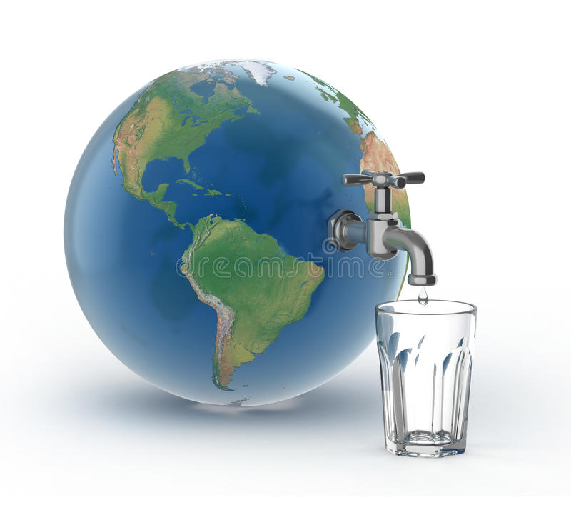 Drinking water crisis - eco concept. Drinking water crisis - eco 3d concept royalty free illustration