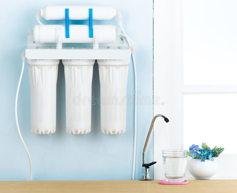 Drinking water filter. Clean and purify drinking water with the high quality filter stock images
