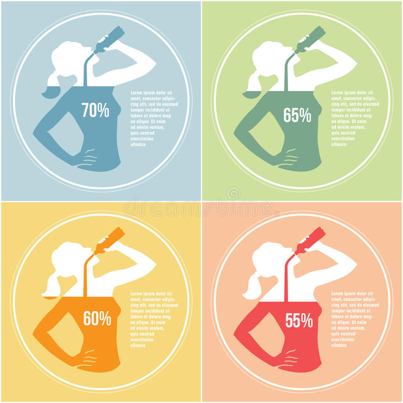 Drinking water 3. Infographics with girl silhouette drinking water and percentage of dehydration and normal water level for human body in differ color variations vector illustration
