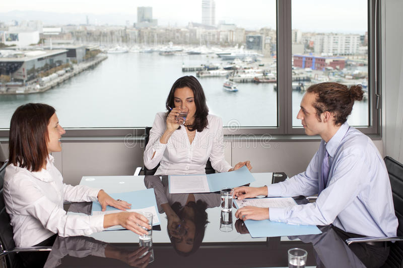 Download Drinking Water During Meeting In Conference Room Stock Photo - Image of laugh, brunette: 19469172