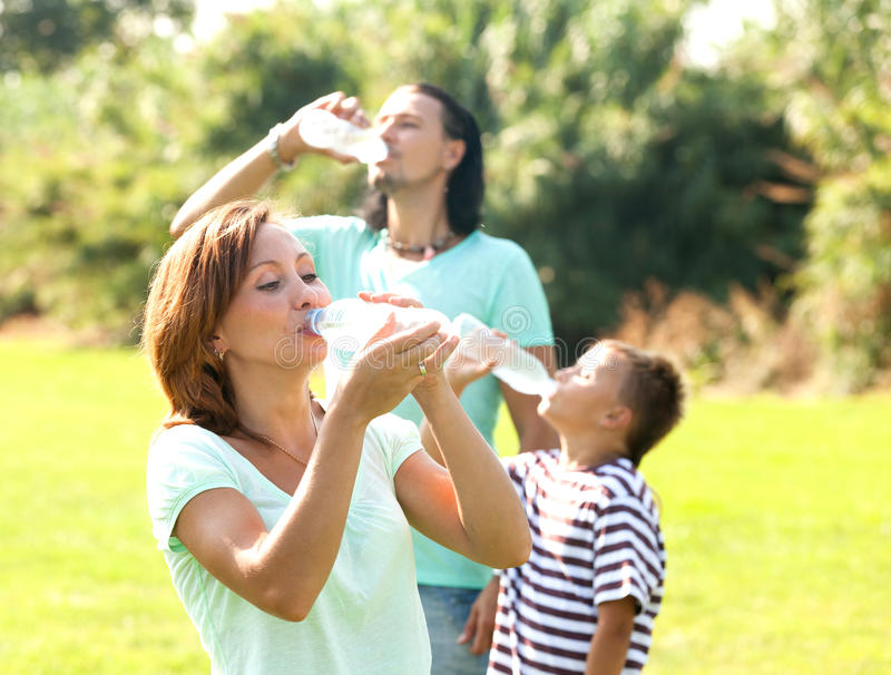 Drinking water in summer stock photography