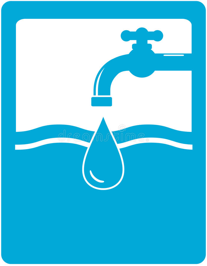 Drinking water symbol with faucet, tap and water d royalty free illustration