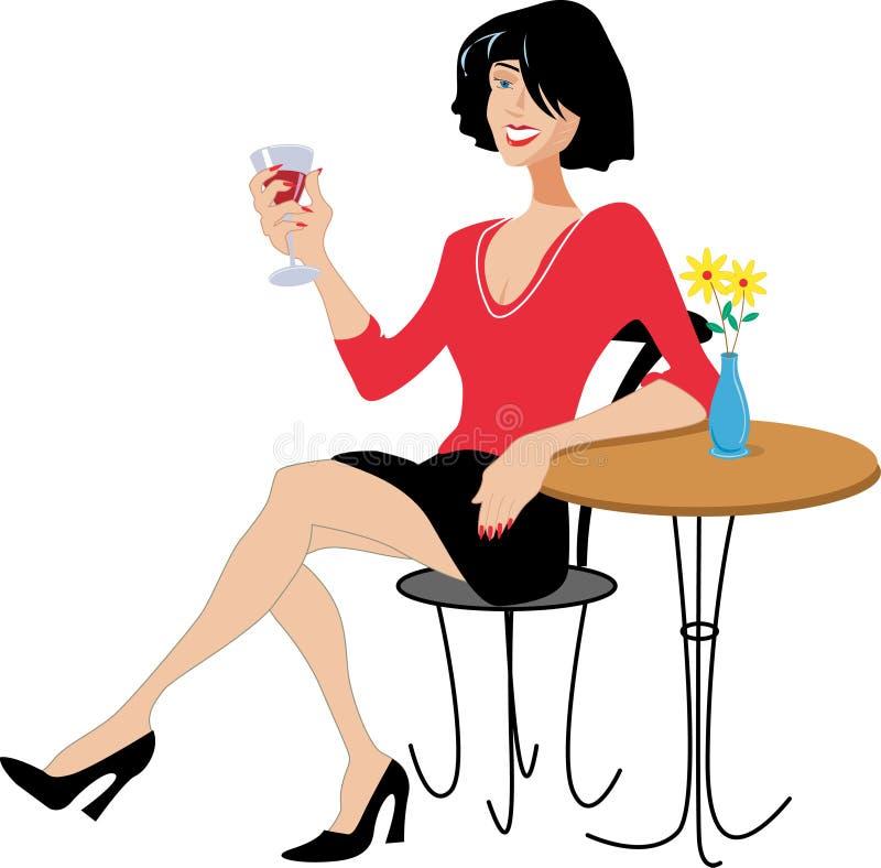 Drinking Wine夫人 库存照片