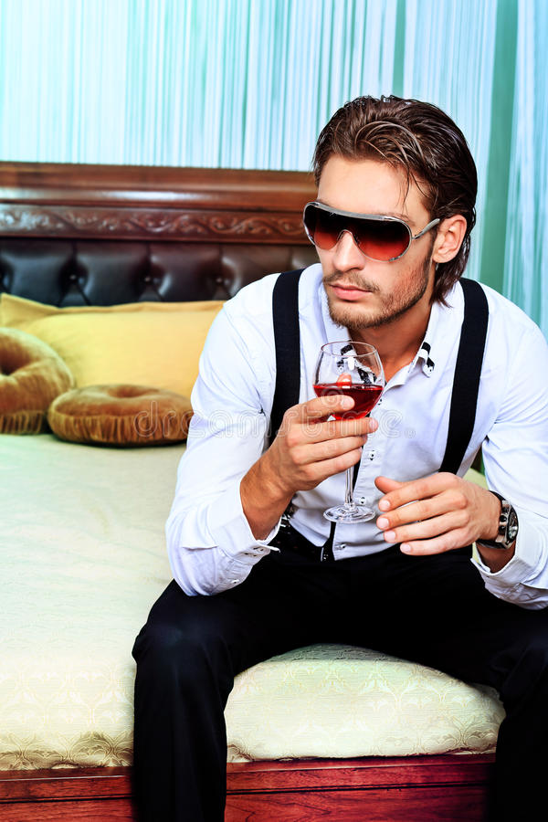 Download Drinking wine stock photo. Image of apartmant, emotion - 22355606