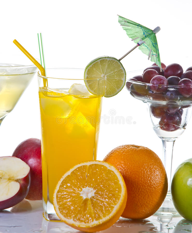 Drinks. And fruits on white background stock image