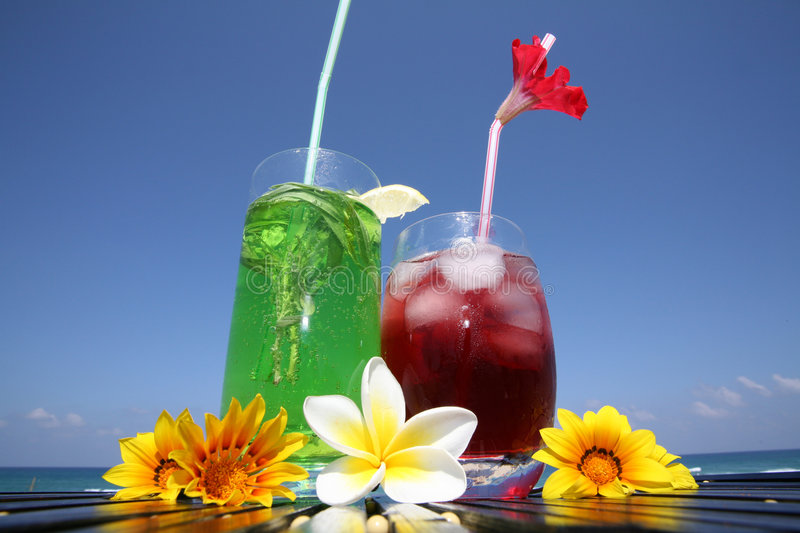 Two cocktails - red and green royalty free stock image