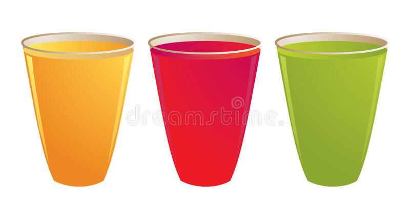 Drinks. In plastic cups isolated on a white background royalty free illustration