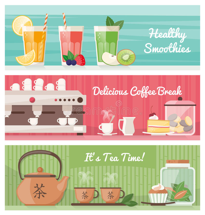 Drinks banner set royalty free illustration