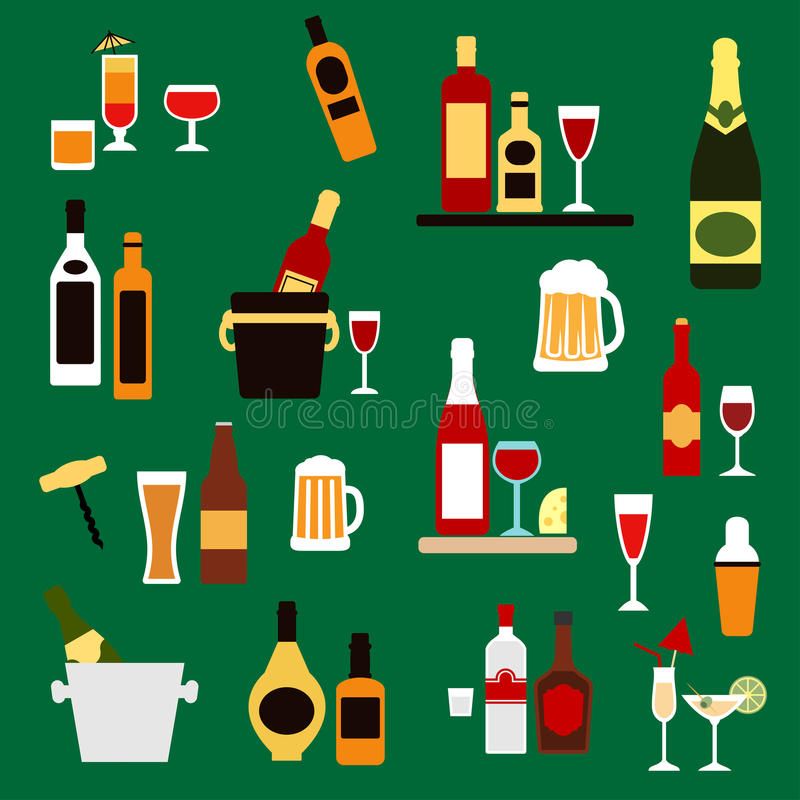 Drinks, beverages and alcohol cocktails flat icons. Drinks, alcohol and beverages flat icons with wine bottles, champagne, beer, whiskey, vodka, rum, gin and vector illustration