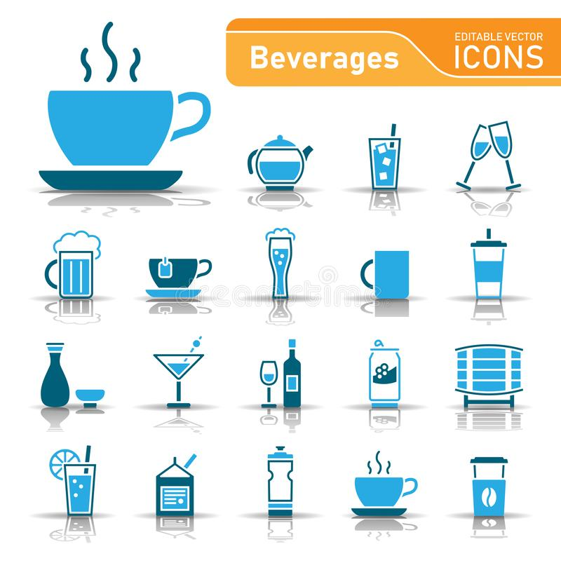 Drinks and Beverages icon set stock photography
