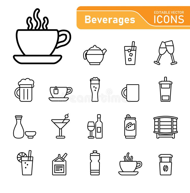 Drinks and Beverages icon set stock image