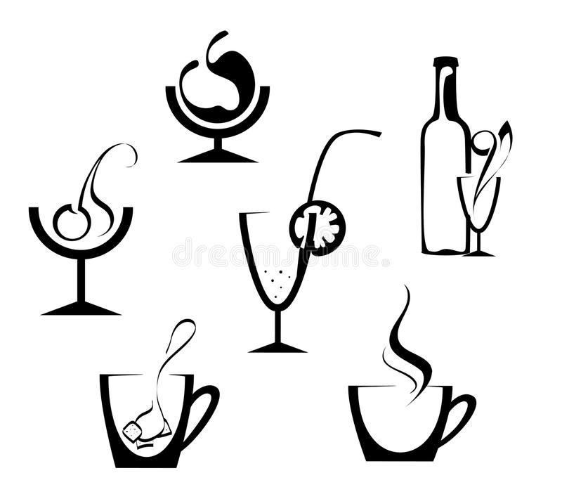 Drinks And Beverages Icons Stock Photo