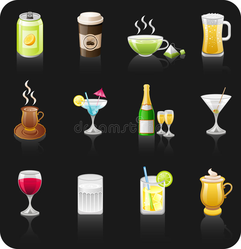 Drinks black icon set.