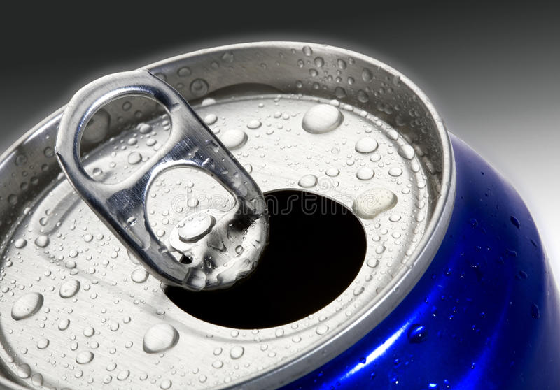 Drinks can. A close up of a chilled drink in a can, beer or soft drink, soda stock photos