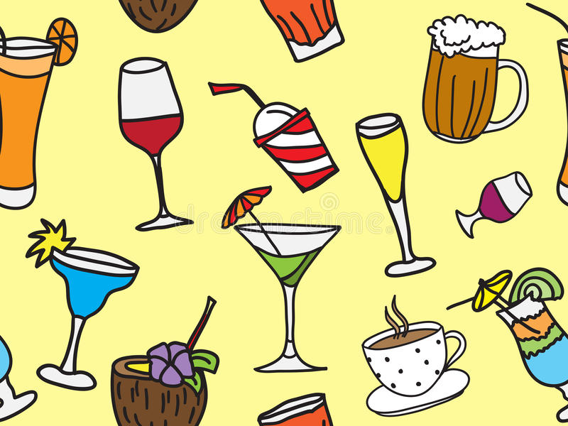 Drinks And Coctail Seamless Background Stock Images
