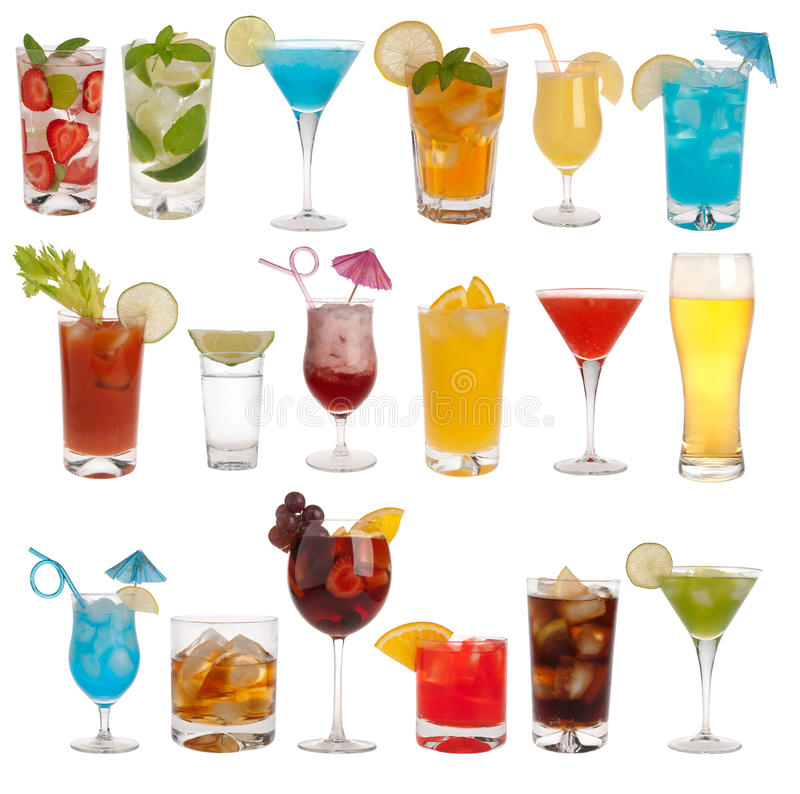 Drinks, coctails and beer. Isolated on white background royalty free stock photography