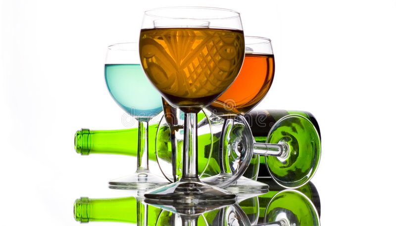 Drinks color and wine bottle. Drinks color and green wine bottle royalty free stock image