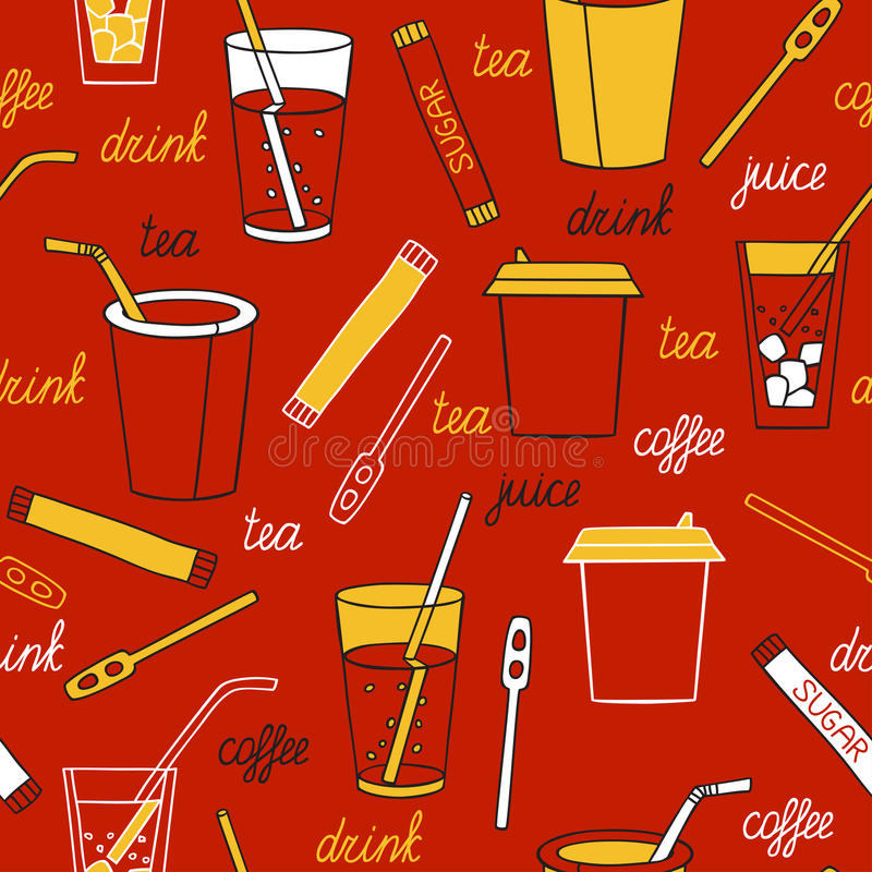 Drinks on a dark background. Seamless pattern with drinks hand-drawn stock illustration