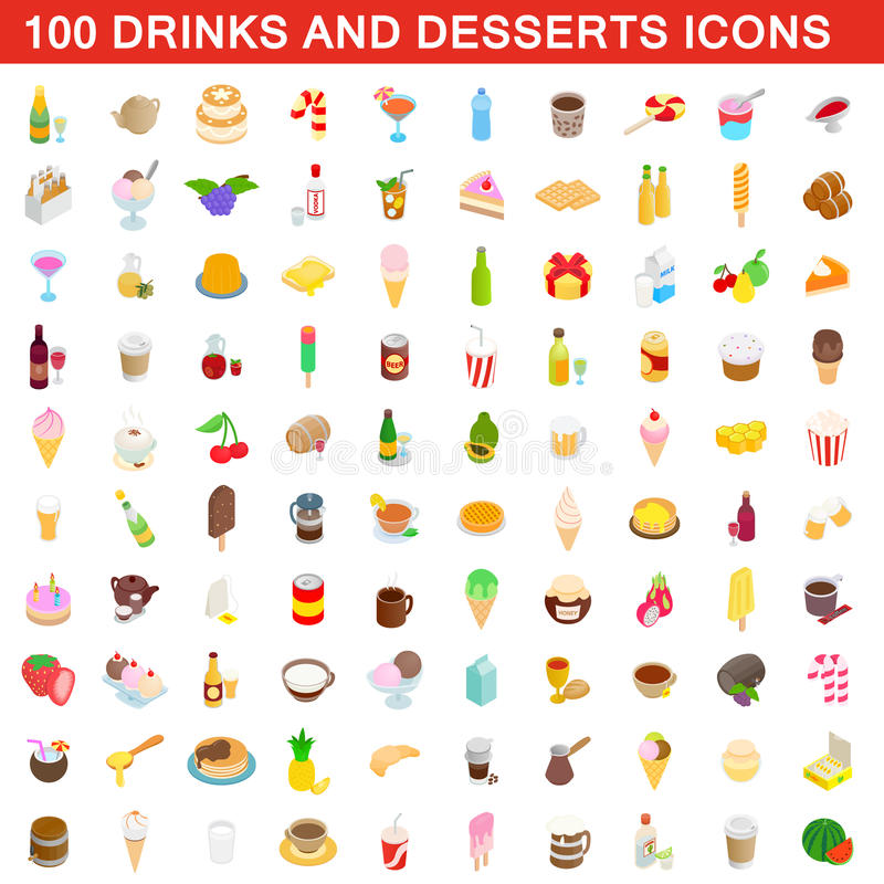 100 drinks and desserts icons set, isometric style. 100 drinks and desserts icons set in isometric 3d style for any design vector illustration royalty free illustration