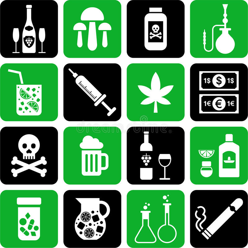 Download Drinks and drugs icons stock vector. Image of joint, daiquiri - 23933378