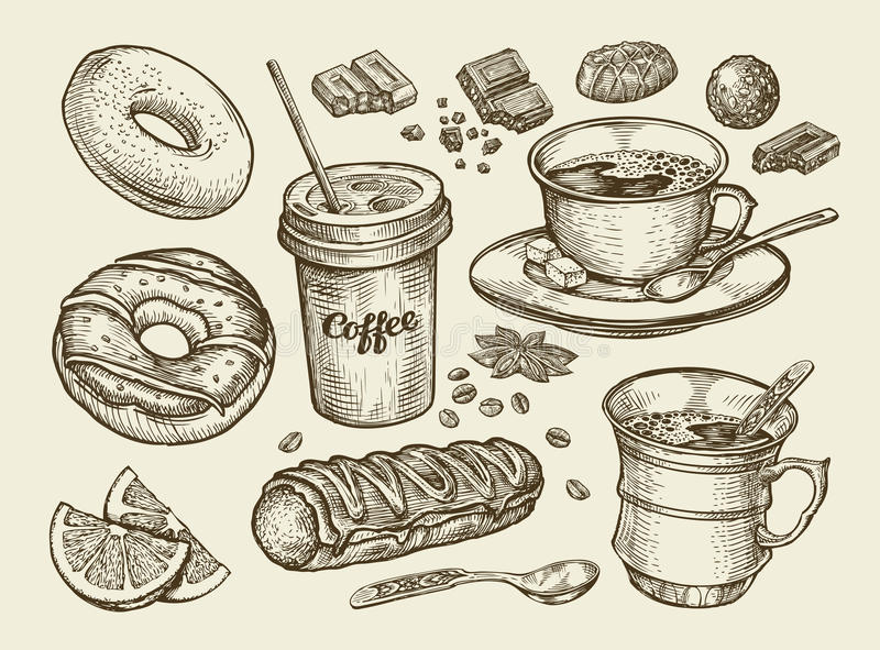Drinks and food. Hand drawn coffee, tea, cup, dessert, candy, chocolate, eclair, cake, doughnut, donut. Sketch vector. Drinks and food. Hand-drawn coffee, tea stock illustration