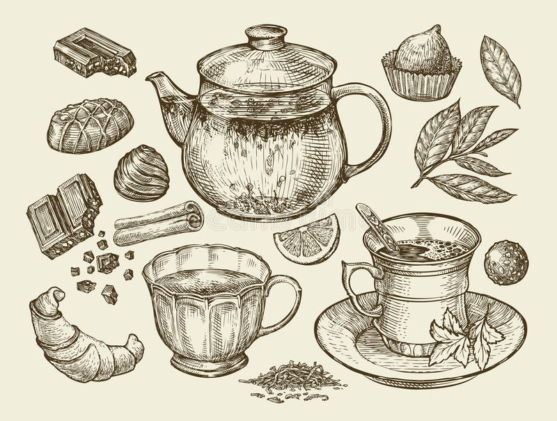 Drinks and food. Hand drawn tea, coffee, teapot, cup, chocolate, candy, croissant, dessert. Sketch vector illustration vector illustration