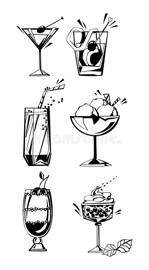 Drinks, glasses and desserts. Vector set of silhouettes of drinks, glasses and desserts stock illustration