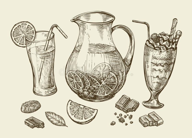 Drinks. Hand drawn cocktail, smoothie, pitcher of lemonade, milkshakes, fruit juice, chocolate, dessert, beverage vector illustration
