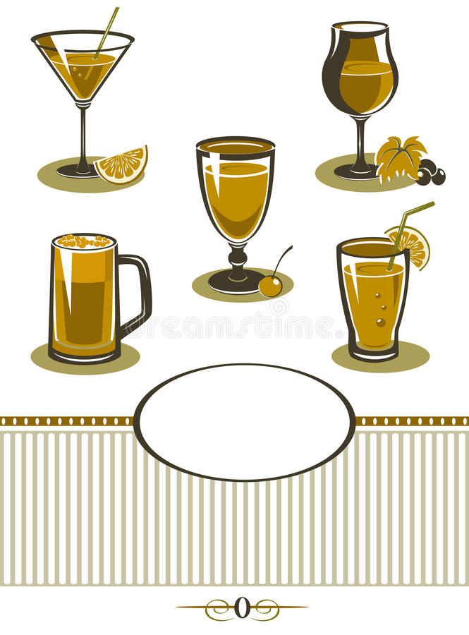 Download Drinks Icons Set Orange Menu Stock Illustration - Image: 26886387