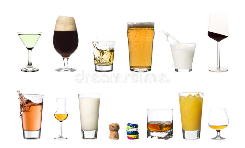 Drinks isolated on white background royalty free stock images