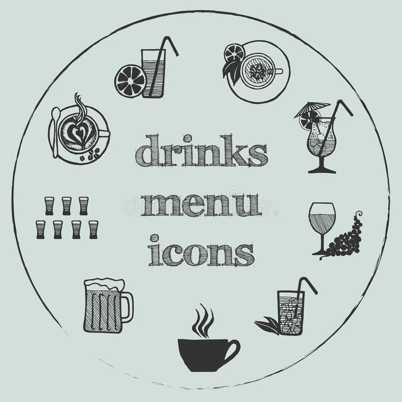 Drinks menu elements - icons set 3 stock photos