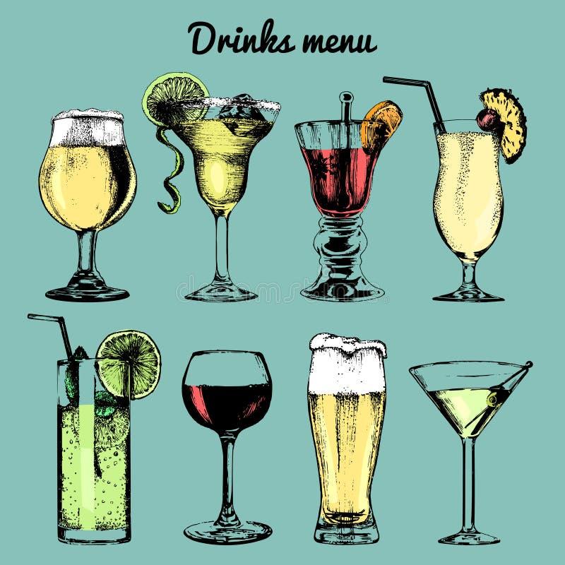 Drinks menu. Hand sketched cocktails glasses. Vector set of alcoholic beverages illustrations, beer, pina colada etc. Drinks menu. Hand sketched cocktails stock illustration