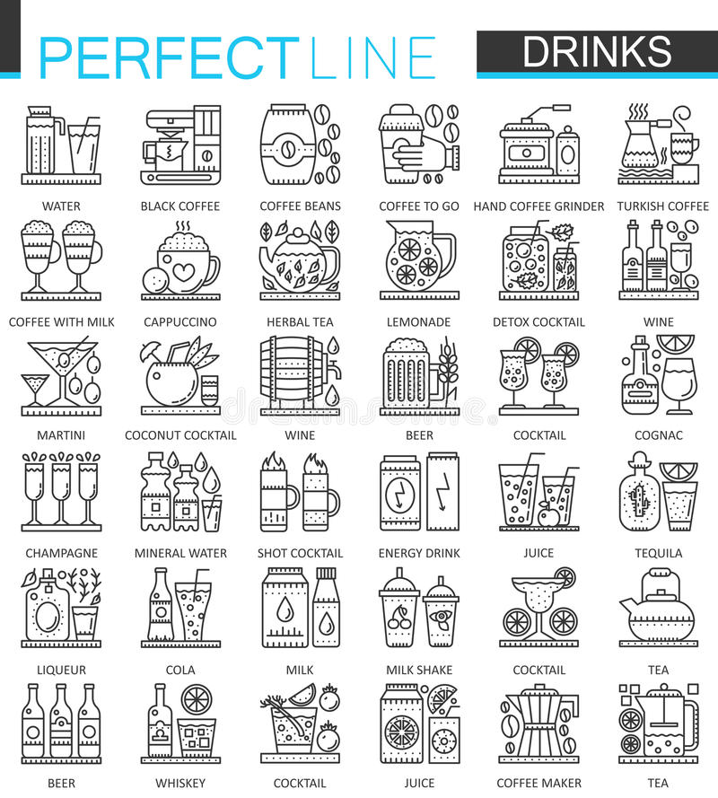 Drinks outline concept symbols. Perfect thin line icons. Alcohol, tea and coffee modern linear style illustrations set. royalty free illustration
